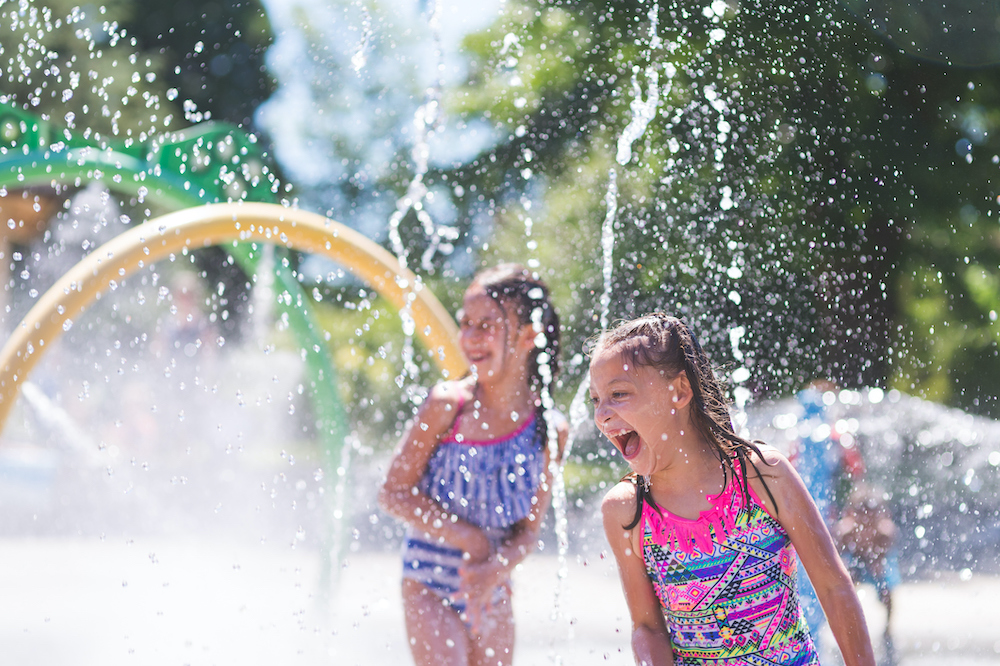girls playing at a water park